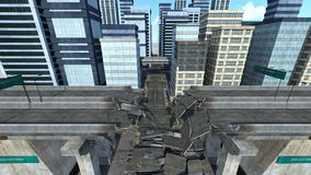 Collapse highway. 3D CG rendering of the collapse highway Royalty Free Stock Images