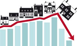 Collapse of housing market. Housing market collapse, conceptual vector illustration, EPS 8 Stock Photos