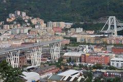 The collapse of the Morandi bridge in Genoa Stock Images