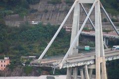 The collapse of the Morandi bridge in Genoa Royalty Free Stock Photos