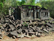 The collapse palace in beng mealea ,cambodia Stock Photos