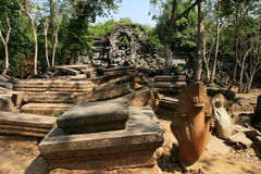 The collapse palace in beng mealea ,cambodia Royalty Free Stock Image