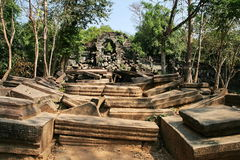 The collapse palace in beng mealea ,cambodia Stock Image