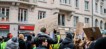We Collapse palcard at nationwide protest in France royalty free stock image