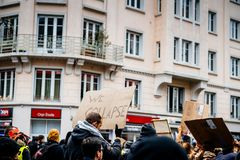 We Collapse palcard at nationwide protest in France royalty free stock photography