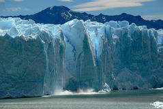Collapse on the Perito Moreno Glacier. Stock Photo