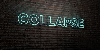 COLLAPSE -Realistic Neon Sign on Brick Wall background - 3D rendered royalty free stock image Royalty Free Stock Photos