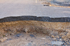Collapse of the road. Stock Image