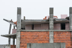 Collapse of the roof of the house under construction Royalty Free Stock Images