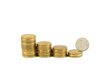 The collapse of the ruble. Ruble coin roll down the coins stock photo
