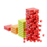 Collapse: ruined bar graph isolated Royalty Free Stock Photography
