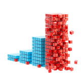 Collapse: ruined bar graph isolated. Collapse and economy crisis: ruined growing bar graph made of cubes isolated on white Royalty Free Stock Photography