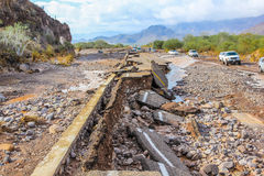 road destroyed by un tropical storm  Royalty Free Stock Photos