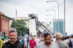 The collapse of suspension bridge Morandi Ponte Morandi Royalty Free Stock Image