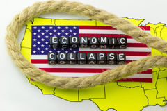 The collapse of the US economy. In the loop of debt Royalty Free Stock Images
