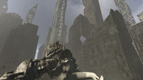 Collapsed architecture in an apocalyptic city. A 3D rendered image of a futuristic city. A dark apocalyptic urbanscape with a broken old sculpture at the Stock Photo