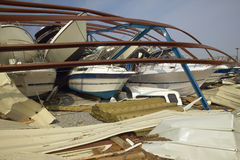 Collapsed boat storage facility from Hurricane Iva Royalty Free Stock Image