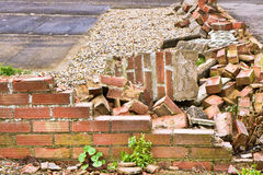 Collapsed brick wall Royalty Free Stock Photos
