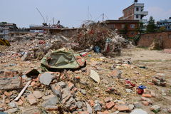 Collapsed building after earthquake disaster Royalty Free Stock Photos
