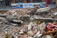 Collapsed building after earthquake disaster Royalty Free Stock Photo