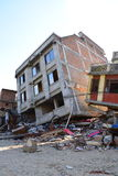 Collapsed building after earthquake disaster Stock Photo