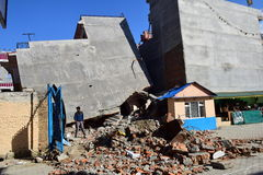 Collapsed building after earthquake disaster Royalty Free Stock Image