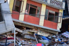 Collapsed building after earthquake disaster Stock Photography