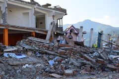 Collapsed building after earthquake disaster. Kathmandu Nepal - May 14 2015 : Collapsed building after earthquake disaster Stock Photos
