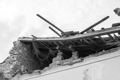 Collapsed building after an earthquake Stock Image