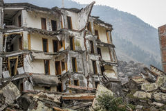 Collapsed building after landslide and earthquake Stock Photography
