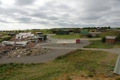 Collapsed buildings in disaster zone. Scenic view of collapsed buildings in disaster zone Stock Image