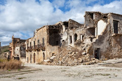 Collapsed buildings after an earthquake in Sicily Stock Photos
