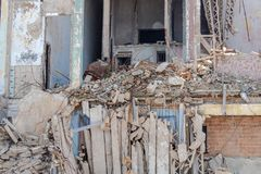 Collapsed concrete apartment building in Havana, Cuba. Serious dilapidation in Havana, Cuba, fallen down apartments made of concrete royalty free stock images