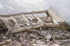 Collapsed concrete buildings Stock Image