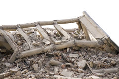 Collapsed concrete buildings isolated Royalty Free Stock Image