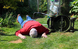 Collapsed or dead or injured senior man. Stock Images