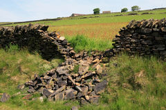 Collapsed Dry Stone Wall. Dry stone is a building method by which structures are constructed from stones without any mortar to bind them together Stock Image
