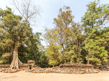 Collapsed enclosure of Ta Prohm temple, Angkor Thom, Siem Reap, Cambodia. Royalty Free Stock Photography