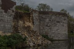 Collapsed fortfied city wall in Maastricht at the vijf koppen stock photos