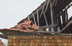 Collapsed House Roof Stock Image
