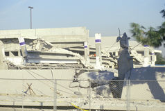 A collapsed parking garage at a Northridge shopping center at epicenter of the 1994 earthquake Stock Photos