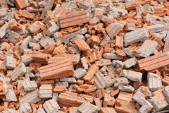 Collapsed red bricks wall Stock Image
