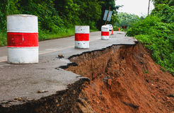 Collapsed Road. Ban Sop Soi, Maehongson, Thailand Royalty Free Stock Images