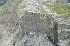 Collapsed rock nearby Grindelwald in Switzerland Royalty Free Stock Images