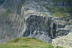 Collapsed rock nearby Grindelwald in Switzerland Stock Photo