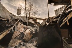 Collapsed Roof. Debris from a collapsed roof royalty free stock image