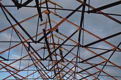 Collapsed roof and iron structure Stock Image