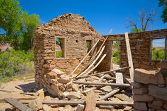 Collapsed Roof on Stone House Stock Photography