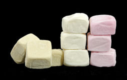 Collapsed wall  made of marshmallows. Collapsed wall  made of different colored marshmallow cubes Royalty Free Stock Photo