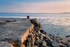 The collapsed wharf and bridge Royalty Free Stock Photography
